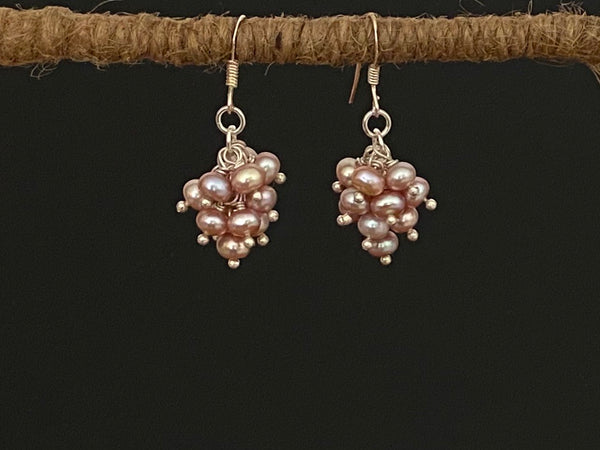 Pink Pearls Earrings in Grape Design