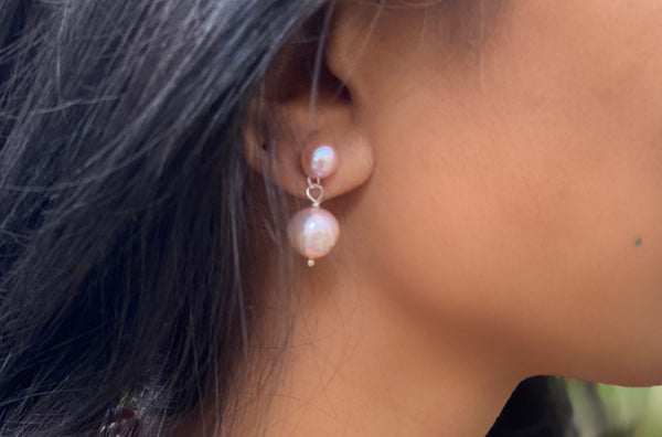 Natural Pink Studs with Pink Pearl Drop Earrings in Silver