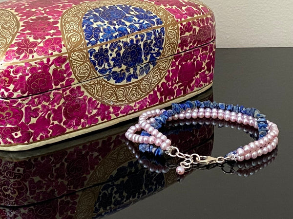 Pink Pearls Bracelet with Lapis Lazuli & Silver