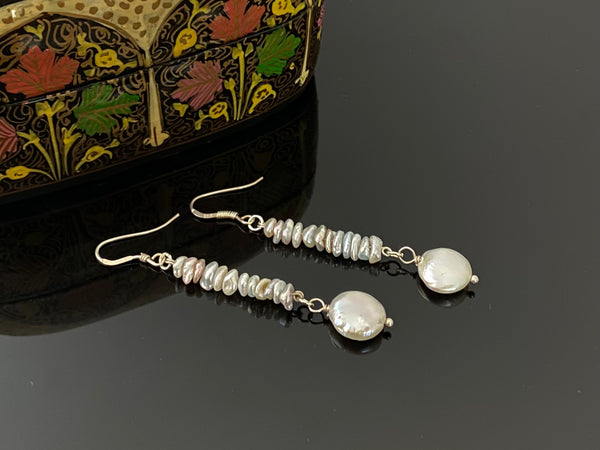 Keshi Pearls with Coin Pearls Earrings