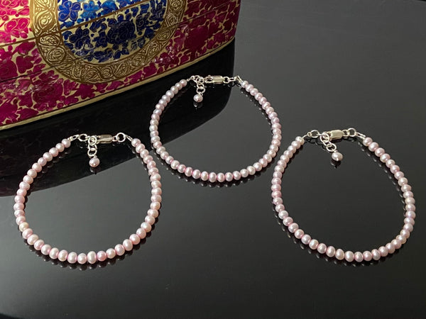 Pink Pearls Stacked Bracelets