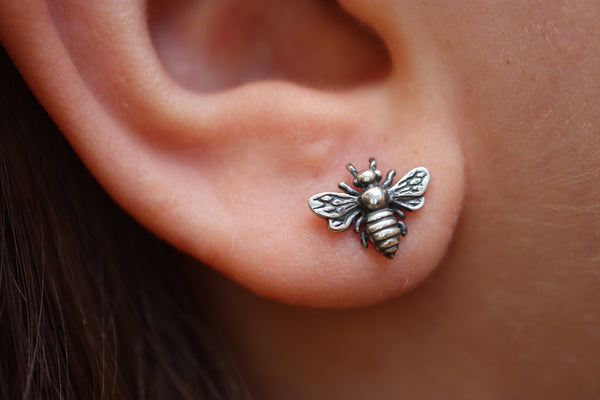 Antiqued Bee Stud Earrings