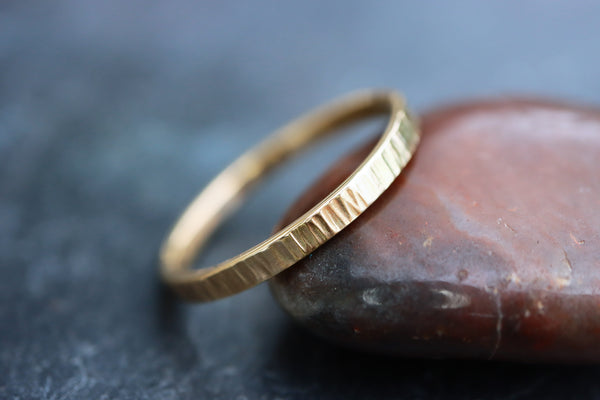 Thick Bark Texture 9ct Gold Ring