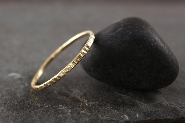 Bark Texture 9ct Gold Stacking Ring