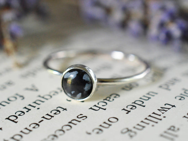 Snowflake Obsidian Stacking Ring