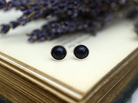 Blue Goldstone Stud Earring