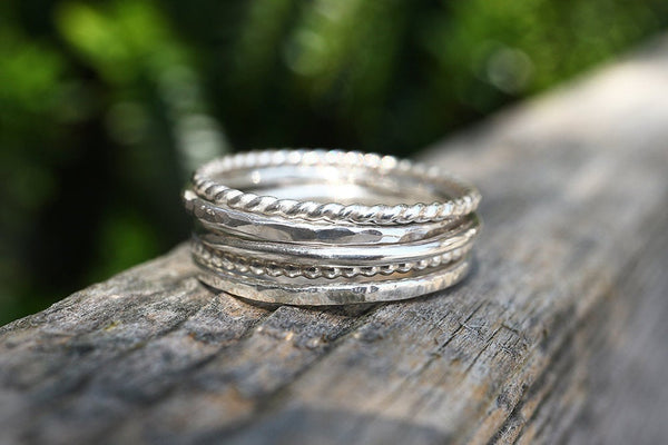 Set of Textured Stacking Rings