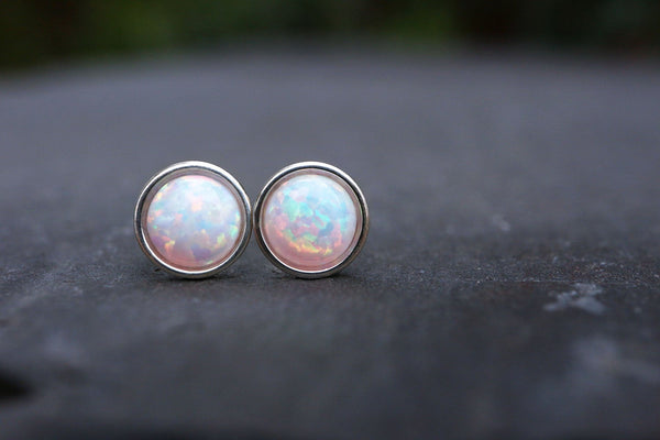 Multicolour Opal Stud Earrings