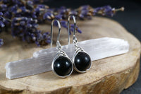 Black Rainbow Obsidian Drop Earrings
