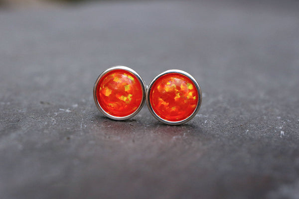 Orange Opal Stud Earrings