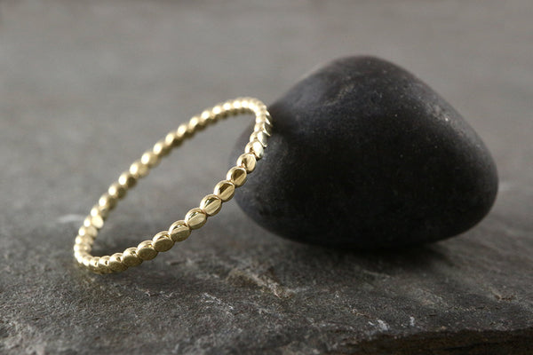 Solid 9ct Gold Beaded Ring