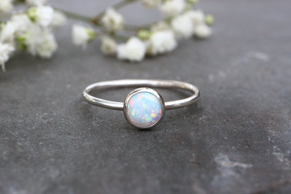 White Opal Stacking Ring