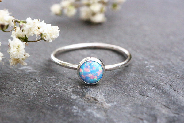 Cornflower Blue Opal Stacking Ring