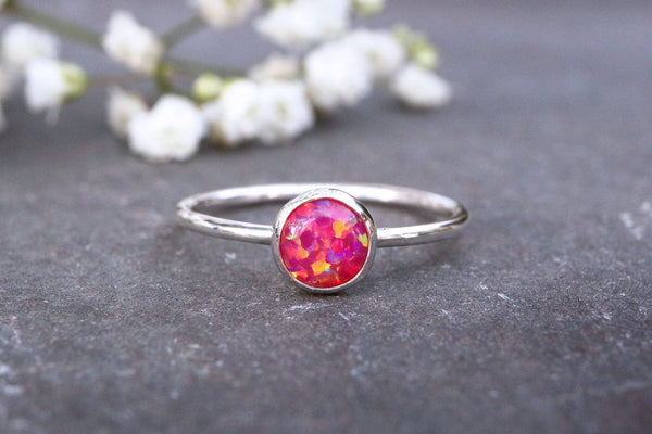 Deep Pink Opal Stacking Ring