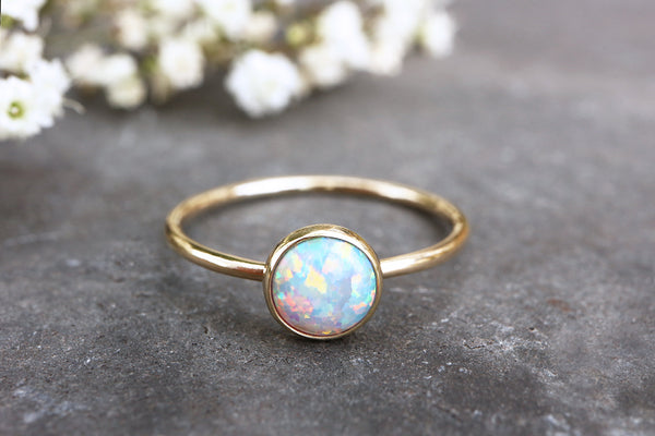 Solid 9ct Gold Lab Opal Ring