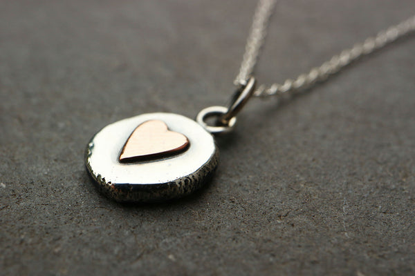 Organic Silver Heart Pebble Necklace