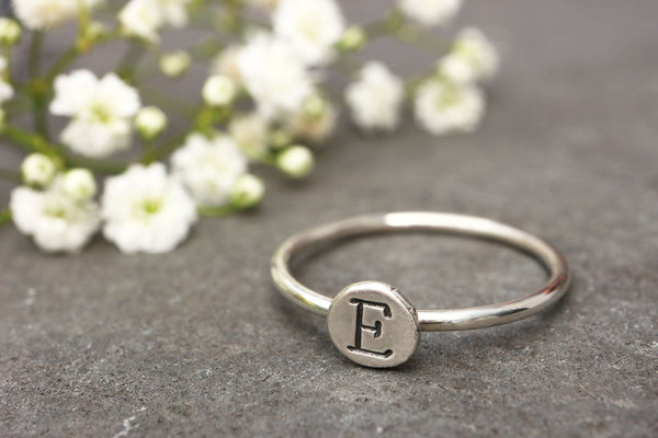 Monogram Recycled Silver Pebble Ring