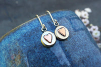 Organic Silver Heart Pebble Drop Earrings