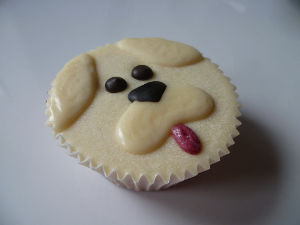 White Puppy Face Cupcake