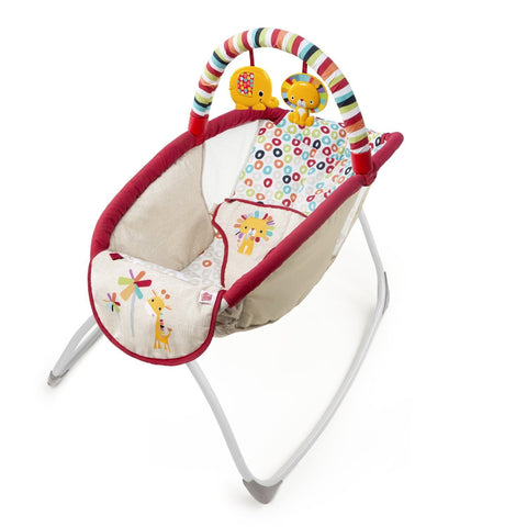 Bright Starts Rock 'n Lounge Elevated Rocker Playful Pinwheels - Baby Brands 4 U - 1