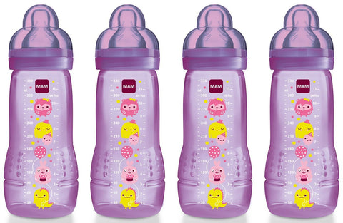 MAM Baby Bottle with Fast Flow Teat (330 ml, Pack of 4, Pink) - Baby Brands 4 U