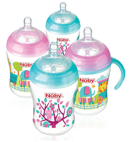 Nuby Natural Touch Decorated Bottles (Pack of 4)