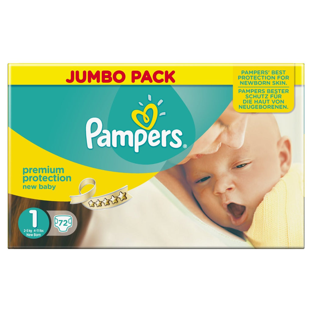 Pampers New Baby Size 1 Nappies (Newborn) Jumbo Pack of 72 - Baby Brands 4 U - 1