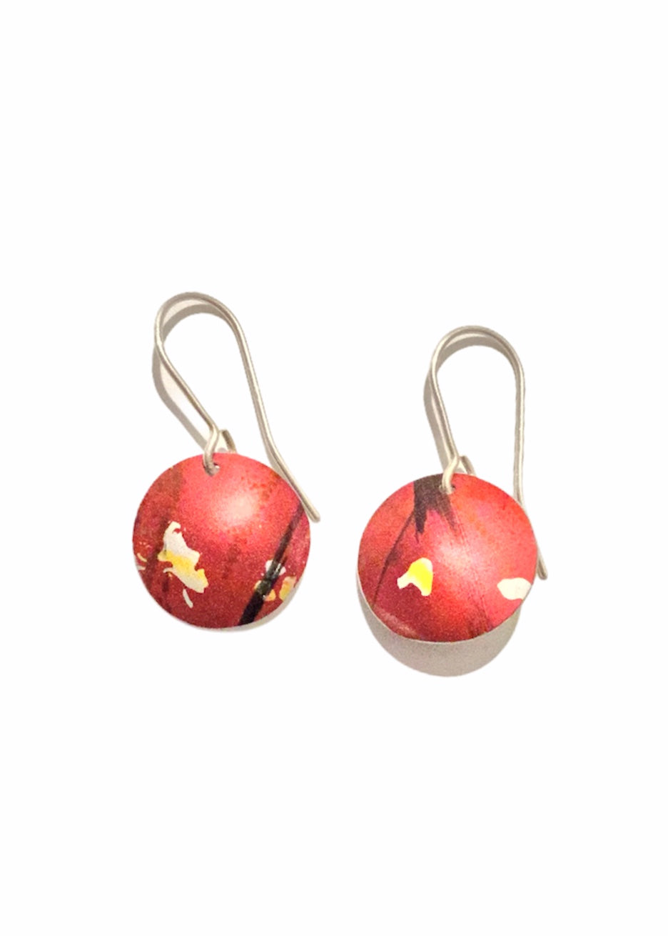 Rachel Stowe - Handprinted Disk Earrings in Reds