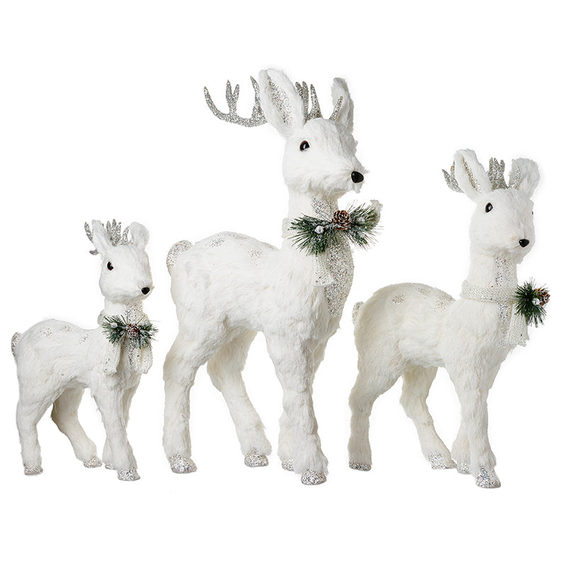 Christmas White Reindeers (Set Of Three)