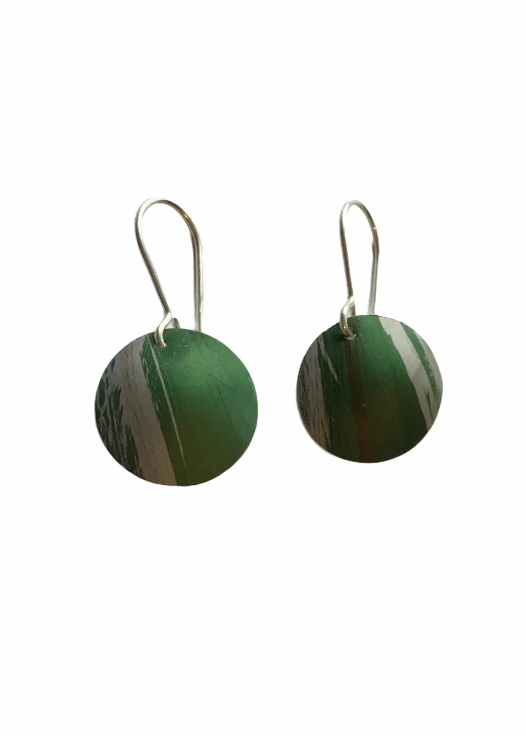Rachel Stowe - Handprinted Disk Earrings in Green