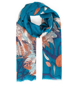 Powder Autumn Owl Print Shawl/Scarf