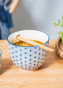 Sashiko Pattern Noodle Bowl With Chop Sticks