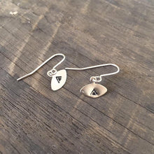 Stuff Made From Things Small Silver Plated Eye Earrings with Triangle Design - Sands Boutique clothing and gifts