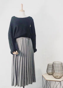 Made In Italy Grey Pleated Skirt