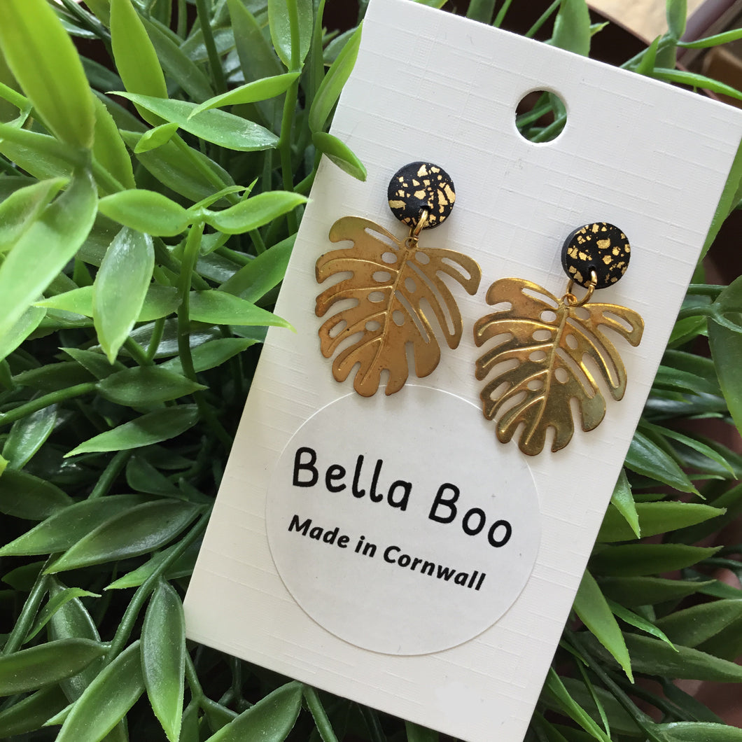 Bella Boo - Gold Palm Leaf with Black & Gold Studs
