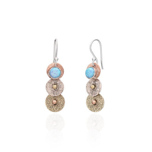 Sands Trio Earrings, Silver, Copper and Opal Combination.