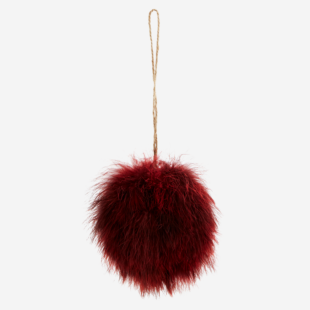 Madam Stoltz Burgundy Fluffy Feather Bauble - Sands Boutique clothing and gifts