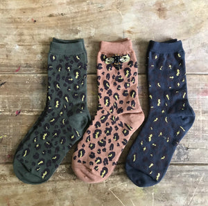 Sixton London Leopard forest sock box with Bumblebee pin - Sands Boutique clothing and gifts