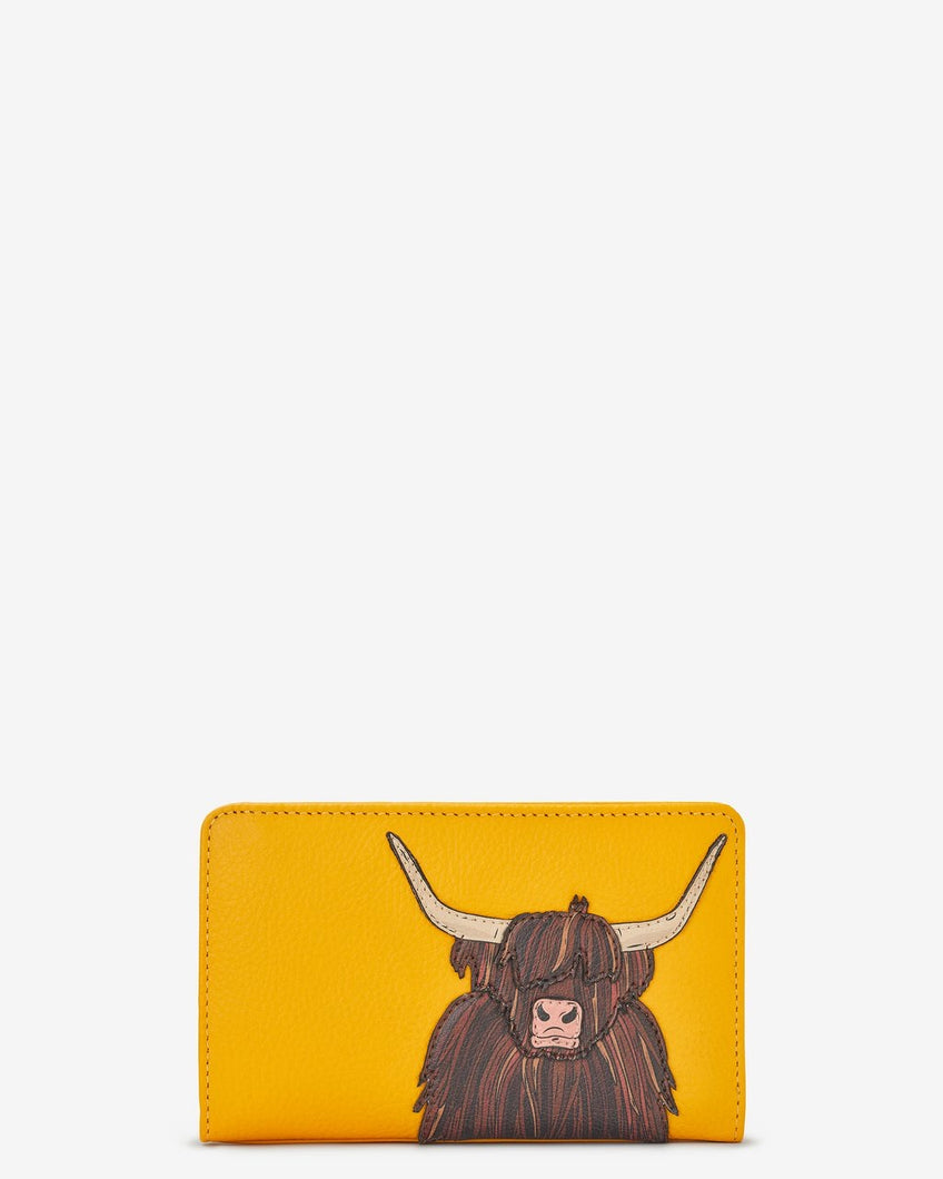 Yoshi Highland Cow Zip Around Leather Purse