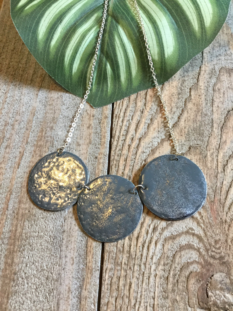 Marlo St Ives - Grey Ruby Enamel Disc Statement Necklace - Sands Boutique clothing and gifts