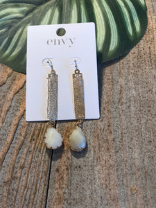 Envy Gold Filigree Rectangle With Encased Opal Stone Earrings - Sands Boutique clothing and gifts