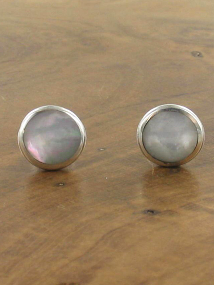 Silver Round Mother & Pearl Stud Earrings