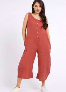 Sands Italian Linen - Button Down Linen Jumpsuit