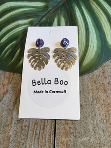 Bella Boo Navy & Silver Leaf Earrings - Sands Boutique clothing and gifts