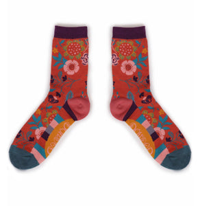 Powder Scandi Floral Ankle Sock