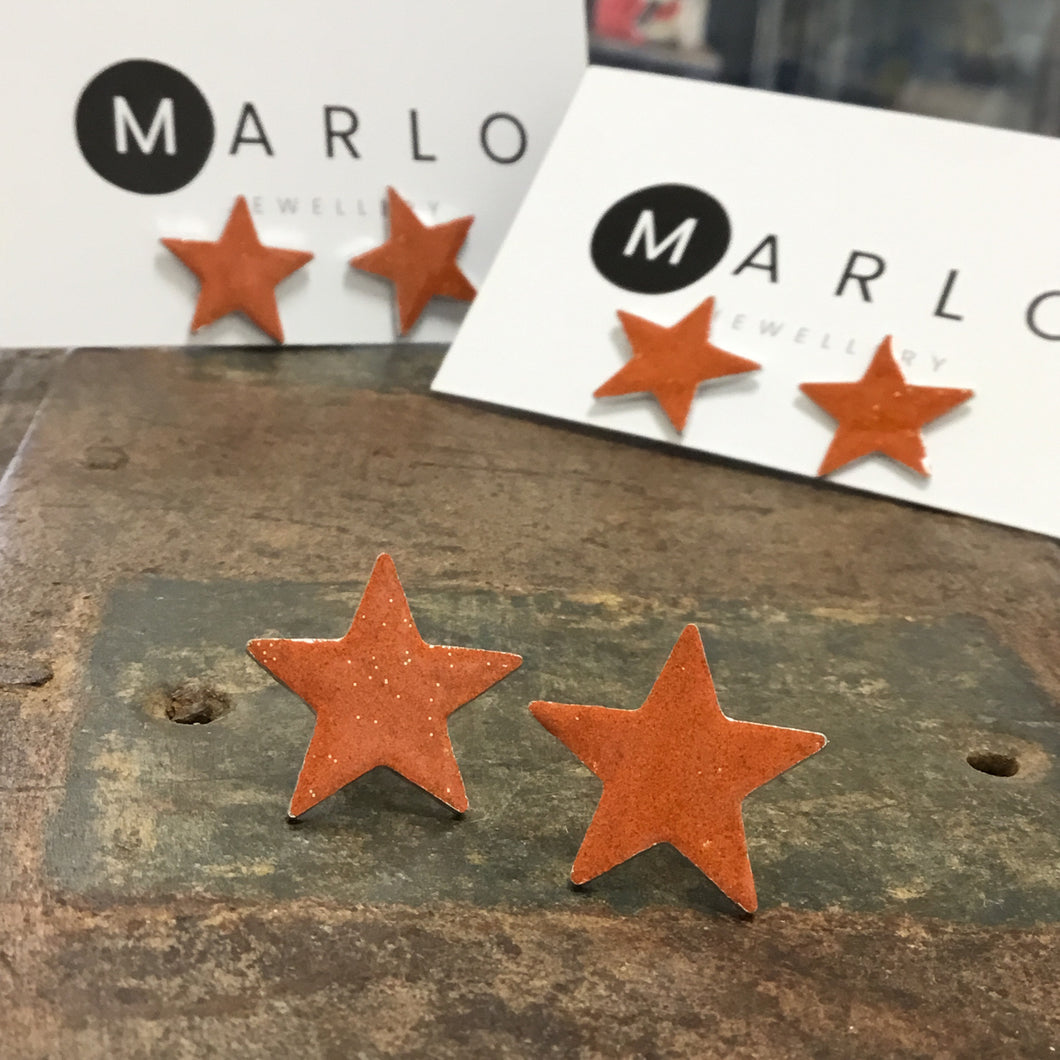 Marlo St Ives - Star Studs in Orange