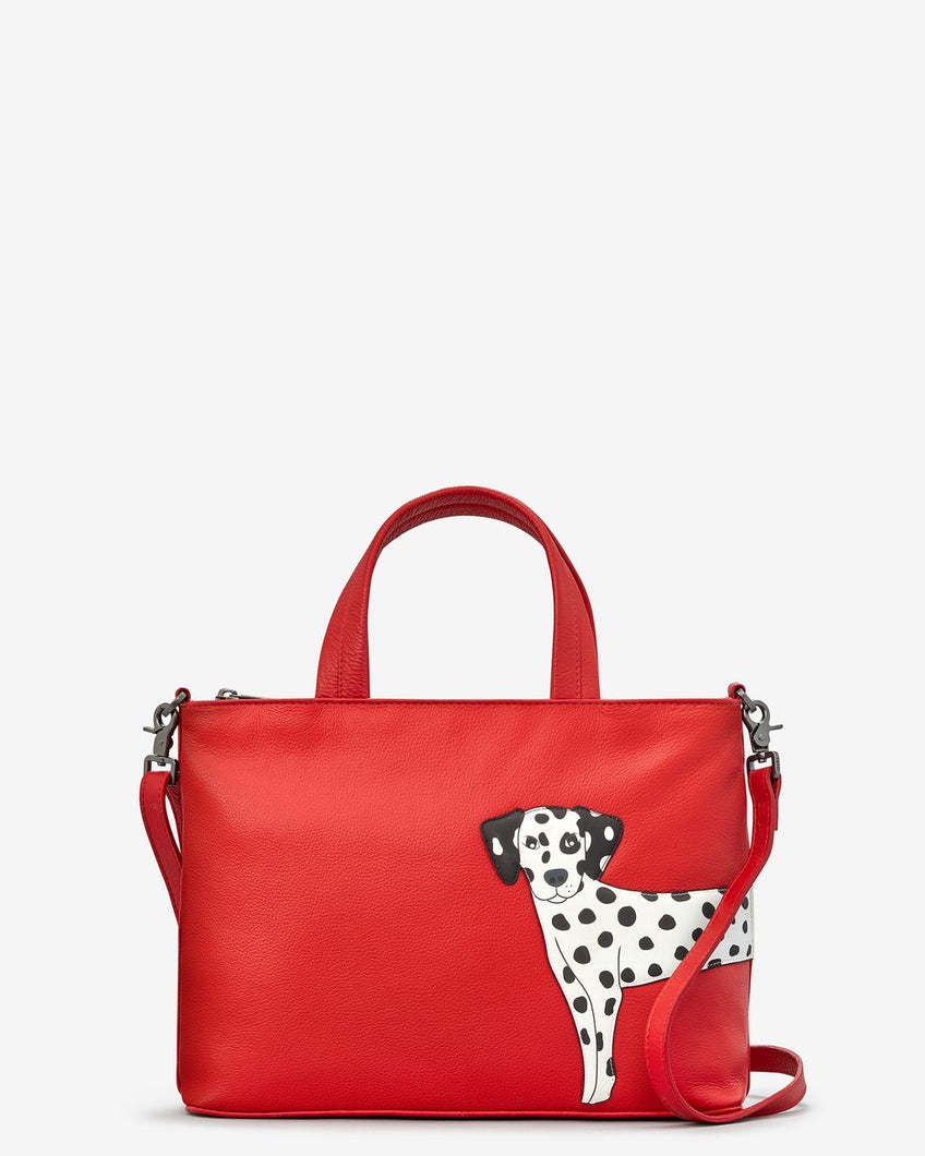 Yoshi Leather Penny The Dalmatian Red Leather Multiway Grab Bag