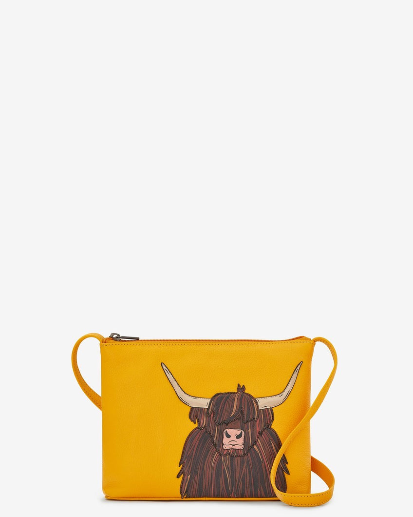 Yoshi  Highland Cow Parker Mustard Leather Cross Body Bag