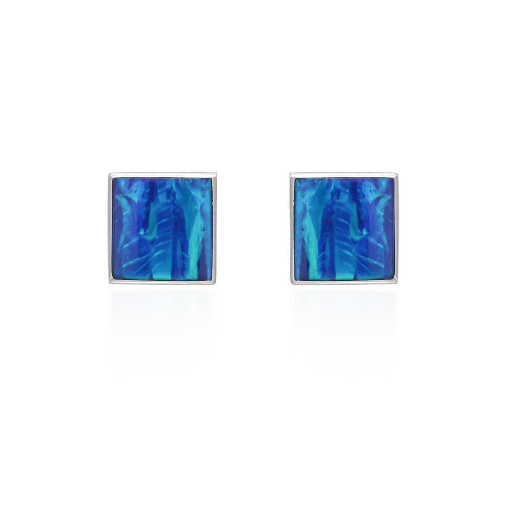 Sands Silver Square Dark Blue Opal Studs - Sands Boutique clothing and gifts