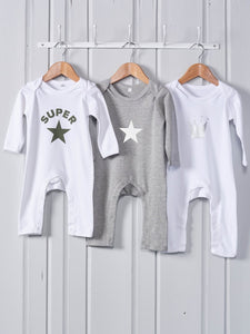 Chalk Uk Light Grey Star Rompasuit